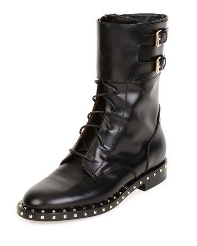 X38UM Valentino Soul Stud Rockstud Leather Moto Boot, Nero/Platino