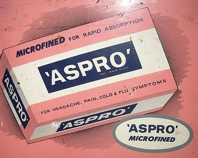 A Treasured Past. Do you have a Headache? I have just the thing! Aspro tin sign from my personal collection.