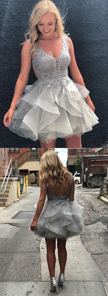 Gray lace tulle short prom dress, gray homecoming dress – trendty
