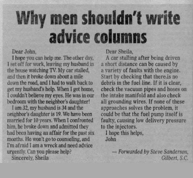 Dating advice columns