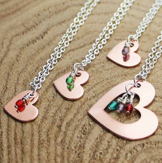 Mother and Daughter Necklace Set  Birthstone by RootedInLoveCustom