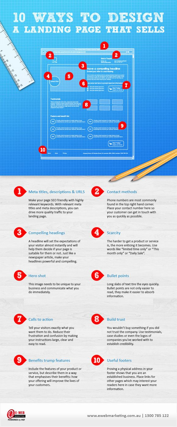 10 Ways to Design a Landing Page That Sells #websitedesign #marketing #infographic