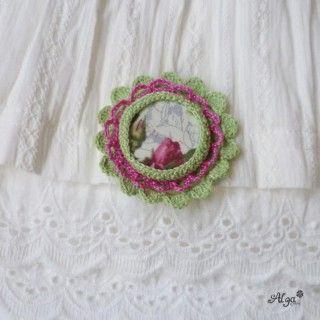 Brož Jarní vánek/Vintage crochet brooche