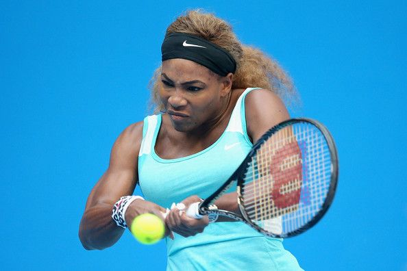 Serena Williams of the United States returns a shot against Silvia Soler-Espinosa of Spain during day three of the China Open at the China National Tennis Center on September 29, 2014 in Beijing, China. - China Open: Day 3