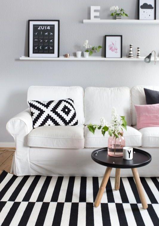Ektorp sofa for a monochromatic Scandinavian living room - DigsDigs