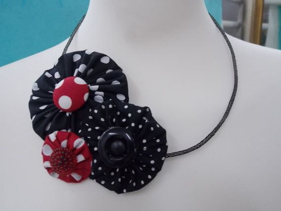 Handmade Necklace Black and White with cotton fabric by FromIrene, €18.00