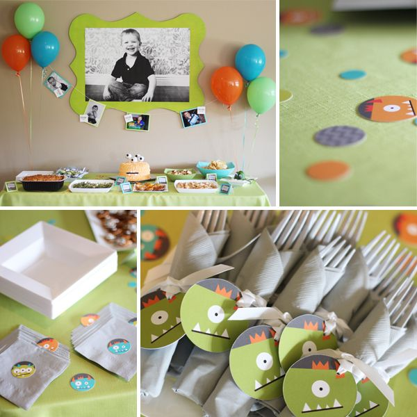 Kids Birthday Party Ideas - Kid's Monster Birthday Party | Pear Salad a blog by Pear Tree Greetings