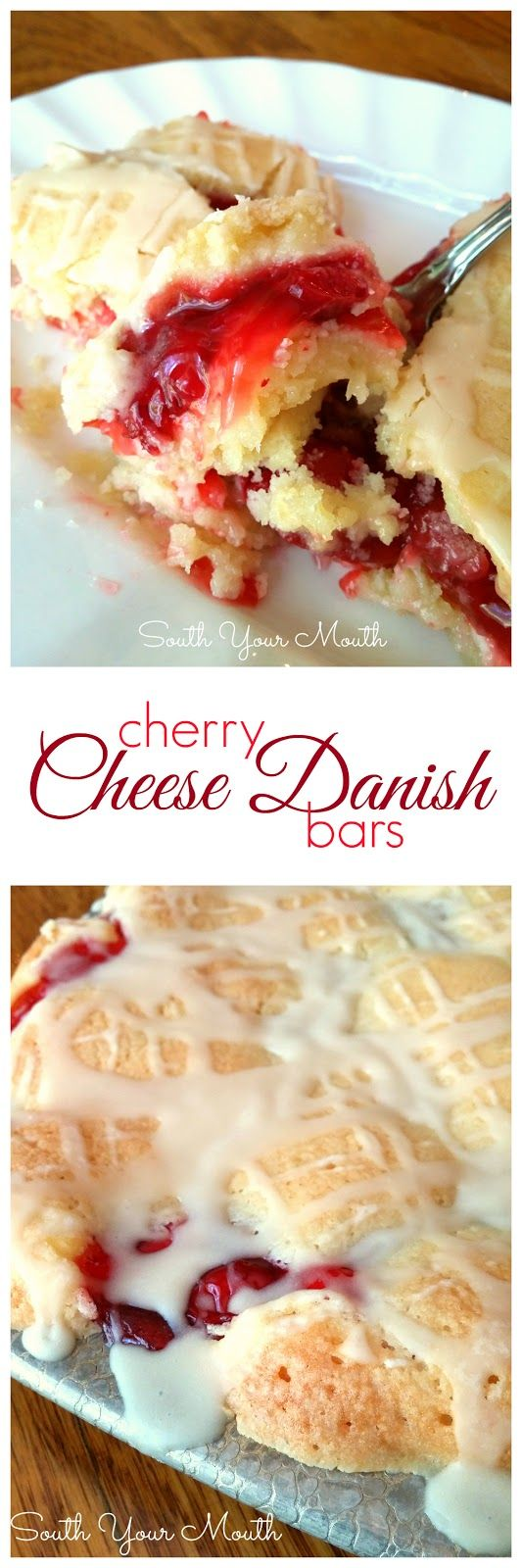 Cherry Cheese Danish Bars! Tender butter crumb bars with cherries and cream cheese in the middle. SO GOOD!
