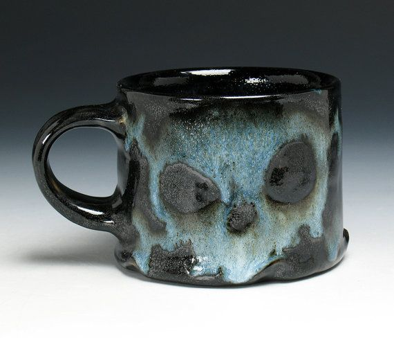 Skull Coffee Mug Skull & Crossbones by NicolePangasCeramics