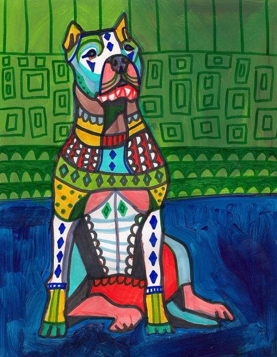 Dog Pop Art  Argentino Dogo Dog Art PRINT by HeatherGallerArt, $24.00