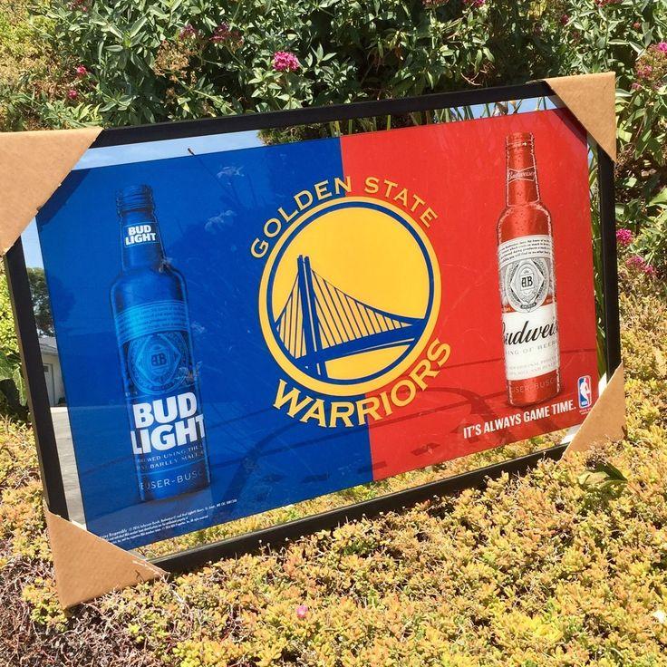 Bud Light Budweiser Golden State Warriors NBA Basketball Beer Bar Mirror New