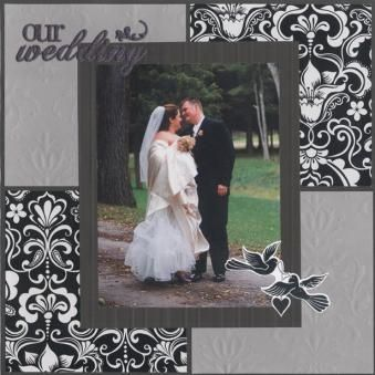 Colorblocked Wedding Page Scrapbooking IdeasWedding