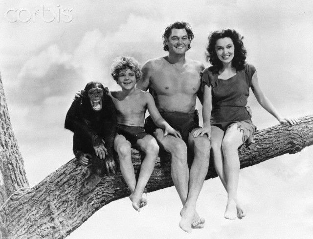 Johnny Sheffield with Tarzan Cast