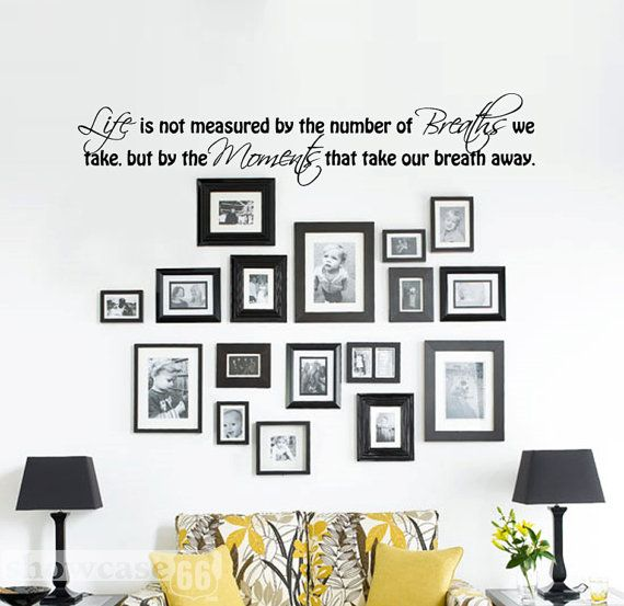 Love this idea with the photos and the vinyl wall art.