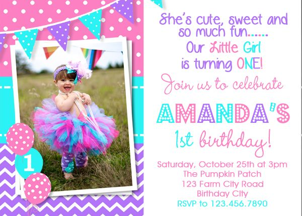 1st birthday invitation purple pink