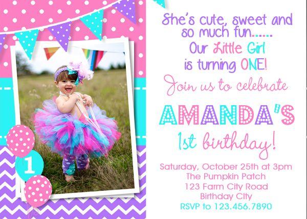 1st birthday invitation purple pink