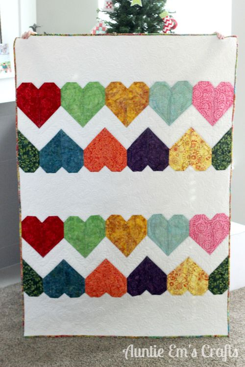 Tula Pink Paper Hearts Quilt made with batiks.  Auntie Ems Crafts