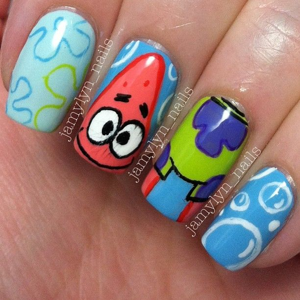 101 best cartoon nail art images on pinterest cartoons pop patrick from spongebob squarepants nails prinsesfo Image collections