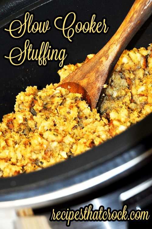 Slow Cooker Stuffing: Great way to make your stuffing on the side and keep your stove top open for other dishes. #Crockpot #SlowCooker