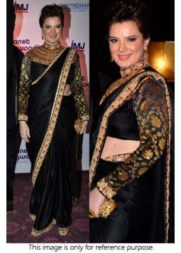 Bollywood Style Udita Goswami 60 GM Georgette Designer Saree In Black and Gold Colour NC1336