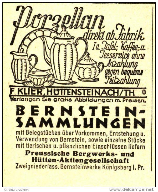 Original-Werbung/ Anzeige 1930 - PORZELLAN /BERNSTEIN- SAMMLUNGEN/ PREUSSISCHE BERGWERKS-UND HÜTTEN- AG - ca.45 x100 mm