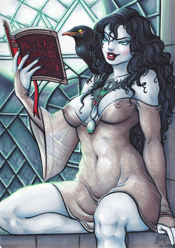 """Grimhilde """"la bruja de Blancanieves"""" (Copic, tamaño A4) (Original)"""