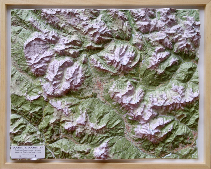 The New Raised Relief Map of Cortina d'Ampezzo is out! 1:50.000 scale - 80 x 66 x 8 cm size.