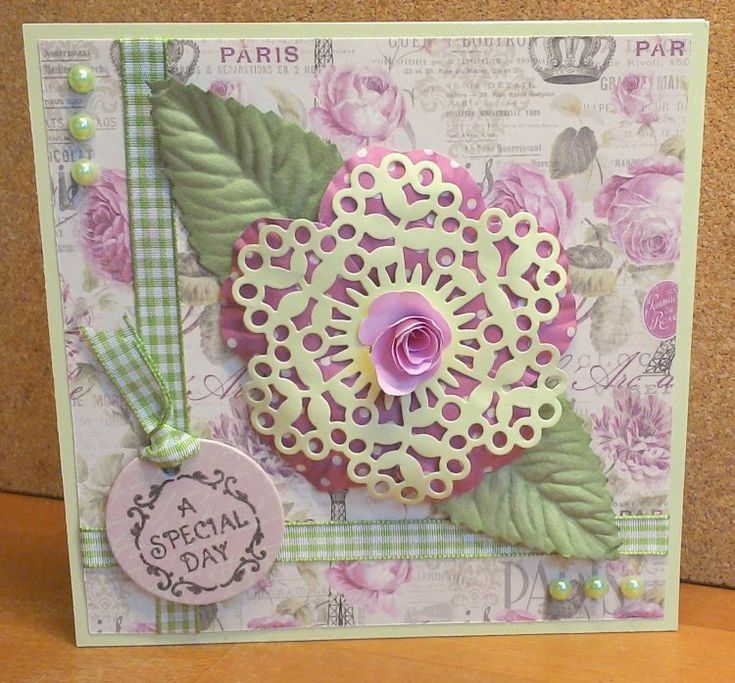 Dovecraft Sweet Paris Flower card by Louise