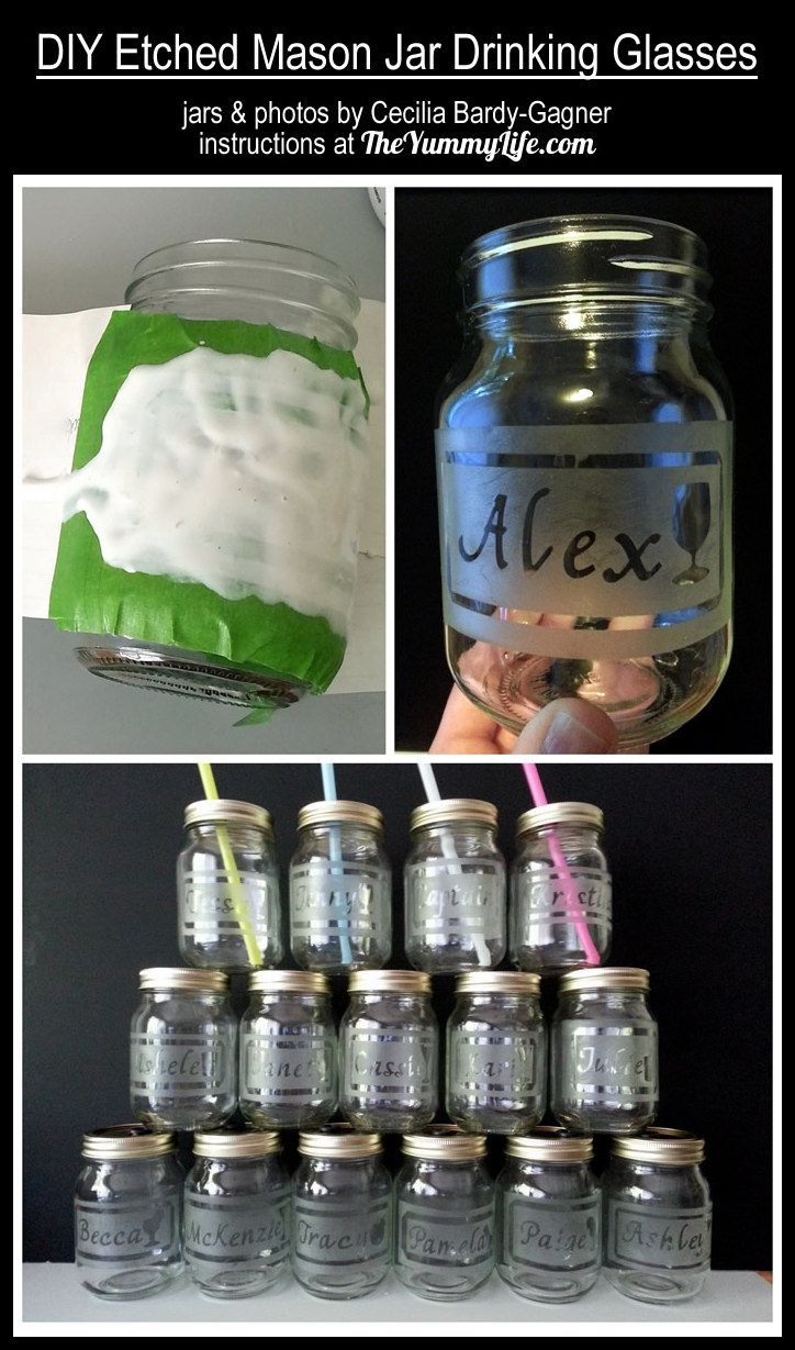 DIY Etched Mason Jar Drinking Glasses. These were made for a bachelorette party. Many fun possibilities! These are awesome!