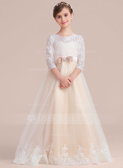 Ball-Gown Scoop Neck Floor-Length Tulle Lace Junior Bridesmaid Dress With Sash Beading Bow(s) (009130499)