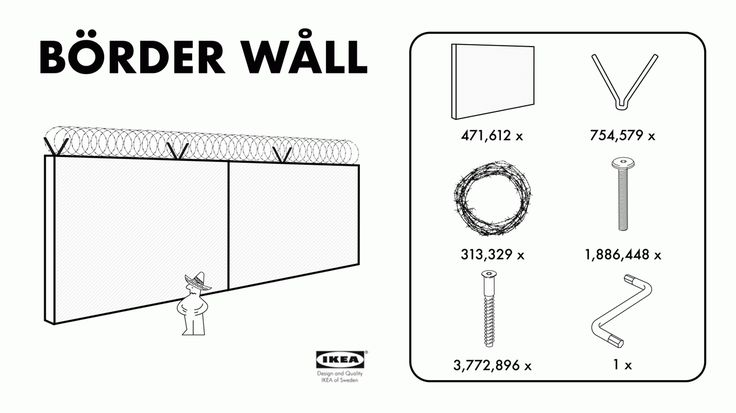 A spoof of an IKEA flat-pack furniture kit shows how to cheaply build Donald Trump's proposed Mexican border wall.
