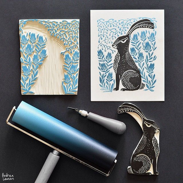 Feeling good starting the day with some printmaking! Here is the two-block hare design; love these shades of blue!
