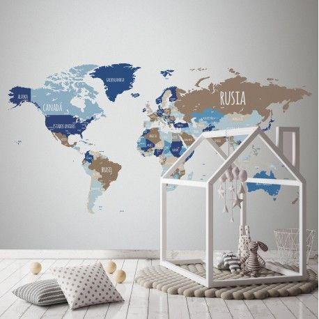 Este vinilo decorativo mapamundi lo puedes encontrar en www.nowayvinilos.com, una web dedicada a los vinilos decorativos, tiene un amplio surtido y combinaciones  de mapamundis, políticos, en inglés y en español.