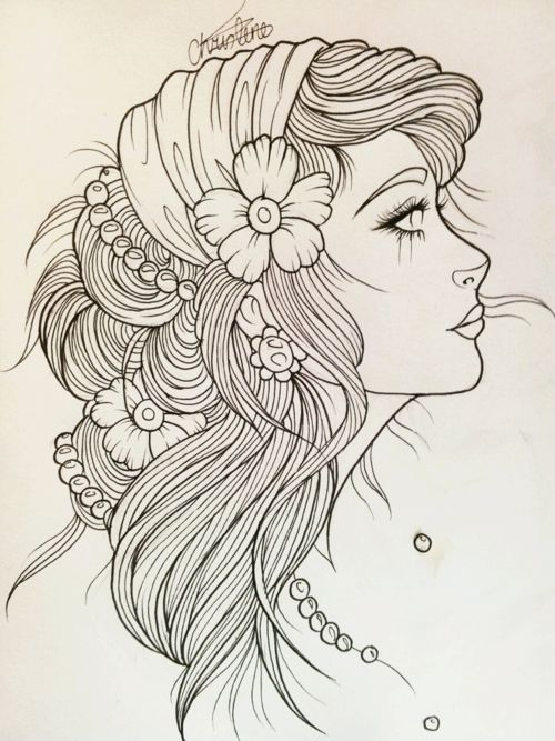 Gypsy Head Tattoo Meaning › Black White Beautiful Gypsy Head Tattoo Layout
