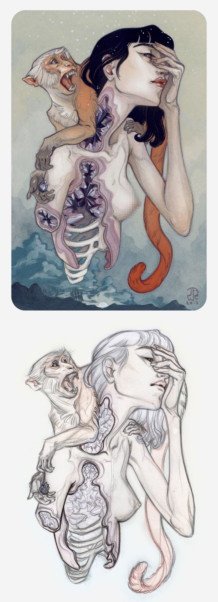"""Rattle"" - J.A.W. Cooper, anatomical sketch and color pencil drawing, 2013 {contemporary #surreal illustrator dissected female anatomy monkey animal NSFW} Interview !!"