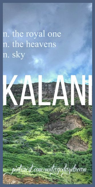 Baby Boy or Girl Name: Kalani. Meaning: The Royal One; The Heavens; Sky. Origin: Hawaiian. https://www.pinterest.com/vintagedaydream/baby-names/