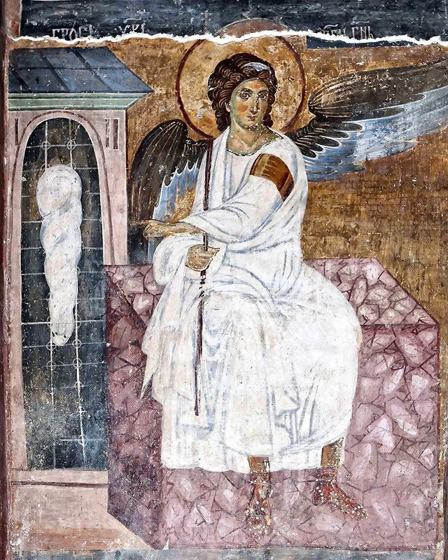 White Angel Unknown c. 1235  White Angel is a detail of one of the best known frescoes in Serbian culture in the Mileševa monastery Mironosnice na Hristovom grobu (Myrrhbearers on Christ's Grave) in Serbia created during the reign of King Stephen Vladislav I of Serbia. Considered one of the most beautiful works of Serbian and European art from the High Middle Ages this fresco is considered to be one of the great achievements in European painting. The writers of the 19th century simply…