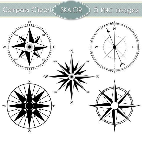 Compass Clipart Vector Compass Clip Art Steampunk Nautical Digital Scrapbooking Invitations Logo Silhouette Instant Download