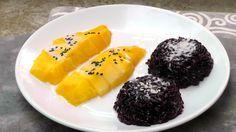 Khao Niaow Ma Muang ist ein thailändisches Desserrt, aus Klebreis, gelben Mangos und Kokossoße. Sooooooo lecker