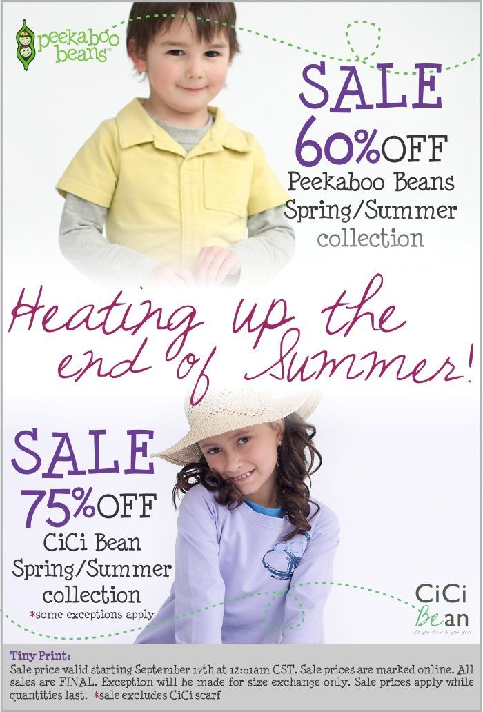 Enless Summer SALE! Peekaboo Beans Spring Summer collections on sale now up to 75% off!! Shop www.peekaboobeans.com