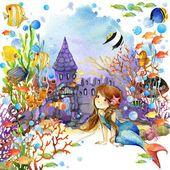 Подводный мир. Русалка и Рыба кораллового рифа. Акварельные иллюстрации для детей — стоковое фото