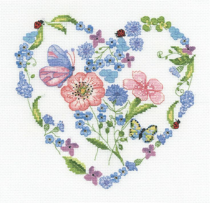 Add a little romance with this stunning cross stitch kit BK724 Floral Heart.