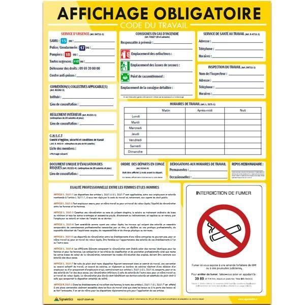 Tag Panneau Affichage Obligatoire Entreprise Gratuit Affichage Obligatoire Restaurant Panneau Affichage Affichage
