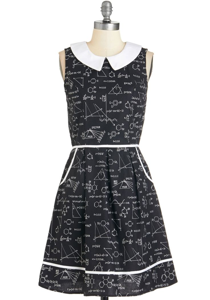 All Eyes on Unique Dress in Science. Your quirky ensembles always earn you attention, and this black printed A-line continues your tradition of extraordinary style! #black #modcloth