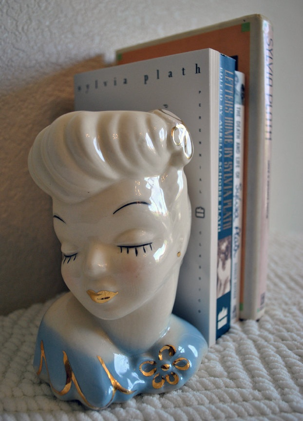Mid Century Glamour Girl Ivory and Blue Collectible Lady Head Vase Mid Century Ceramic Planter