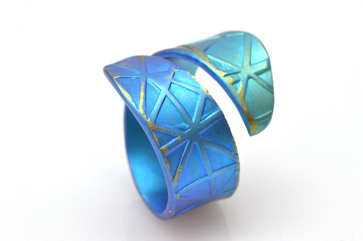 New to Giampouras on Etsy: Anodized Titanium Ring Band Ring Unique Ring Teal Ring Wide Ring Giampouras Collections (70.00 EUR)