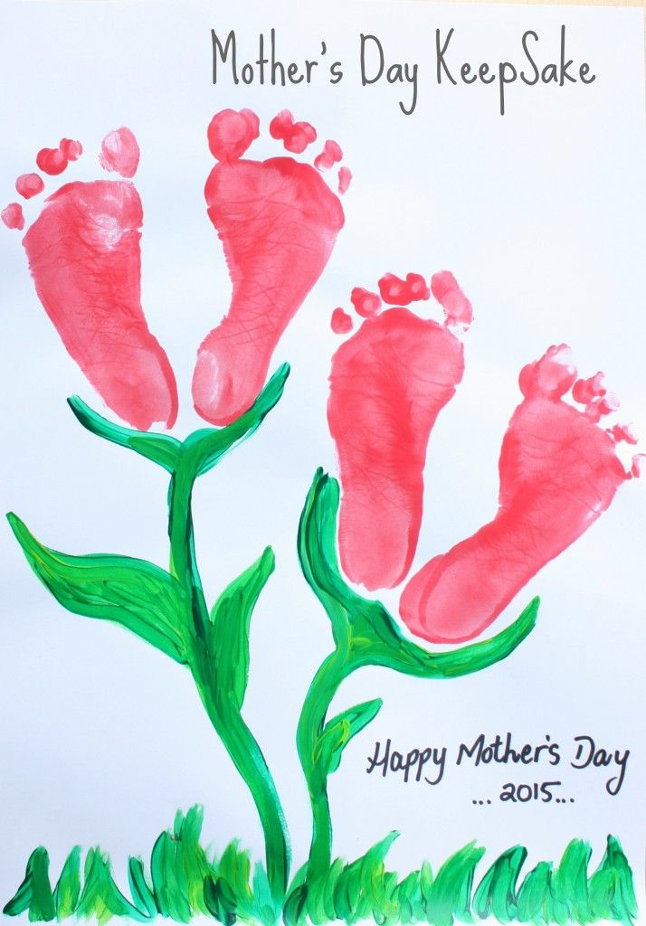 Mothers Day Keepsake Footprint Childrens Craft  -COOL IDEA!! Christmas Tree & Reindeer Feet Art for Winter and now Tulip Feet for Spring!!.