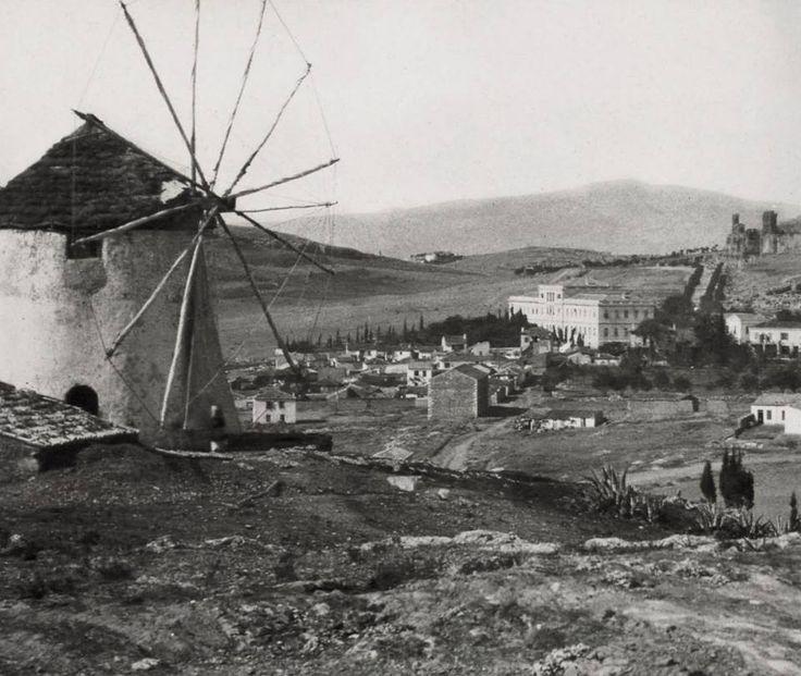 Αθήνα, άποψη από το Μέτς, αριστερά ο Μύλος του Αργυρίου, 1869, φωτογραφία του William James Stillman 1828-1901