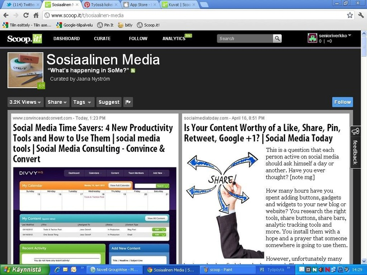 Scoop.it - artikkelien/linkkien kerääminen yhteen.