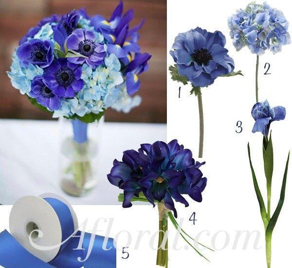 Blue Iris Wedding Flowers with Hydrangeas, Anemones, and Iris.  #blue wedding #all blue wedding